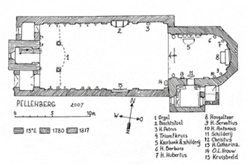 Parochie Pellenberg grondplan kerk